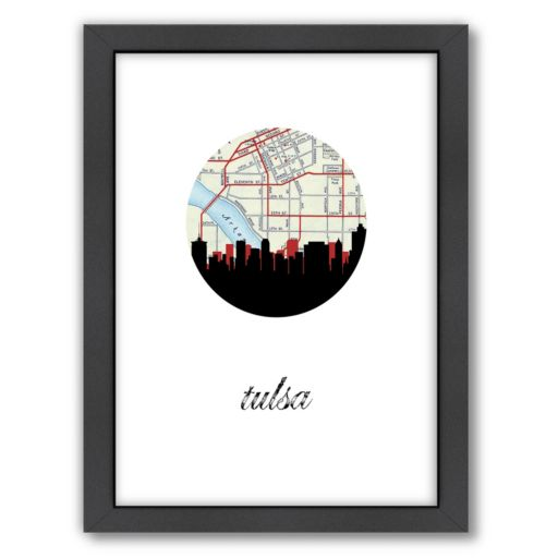 Americanflat Tulsa Map Skyline Framed Wall Art