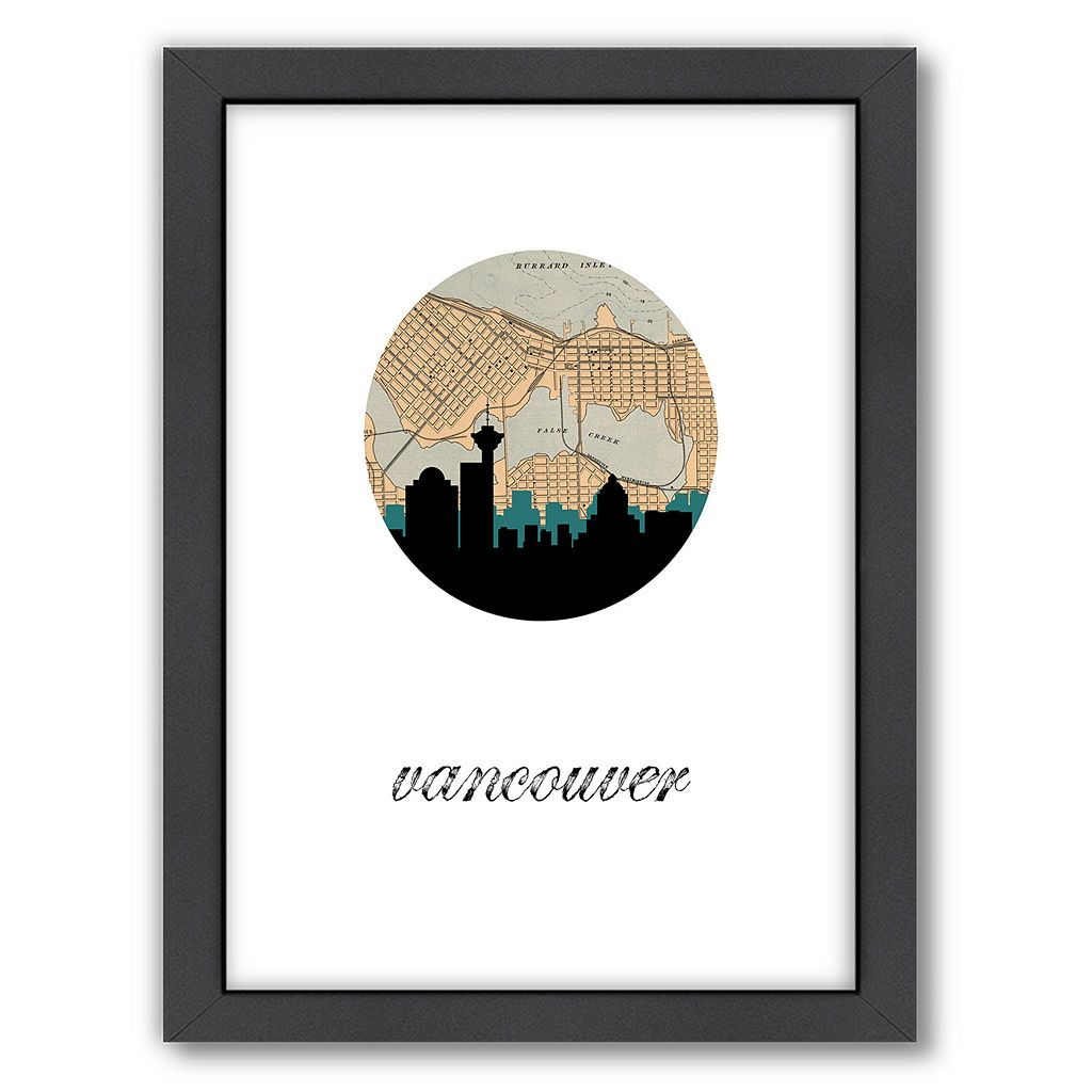 Americanflat Vancouver Map Skyline Framed Wall Art
