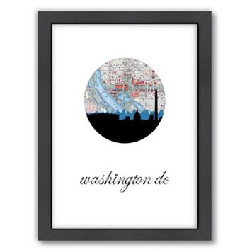 Americanflat Washington D.C. Map Skyline Framed Wall Art