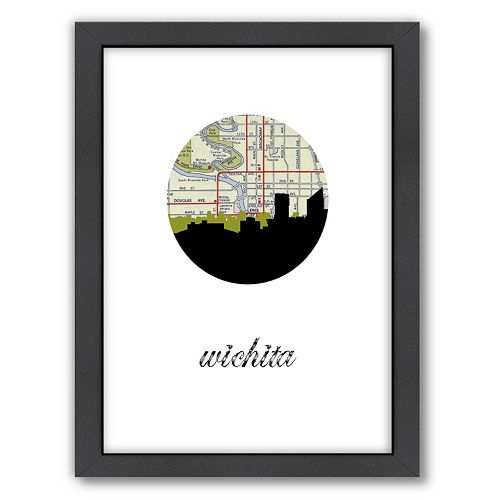 Americanflat Wichita Map Skyline Framed Wall Art