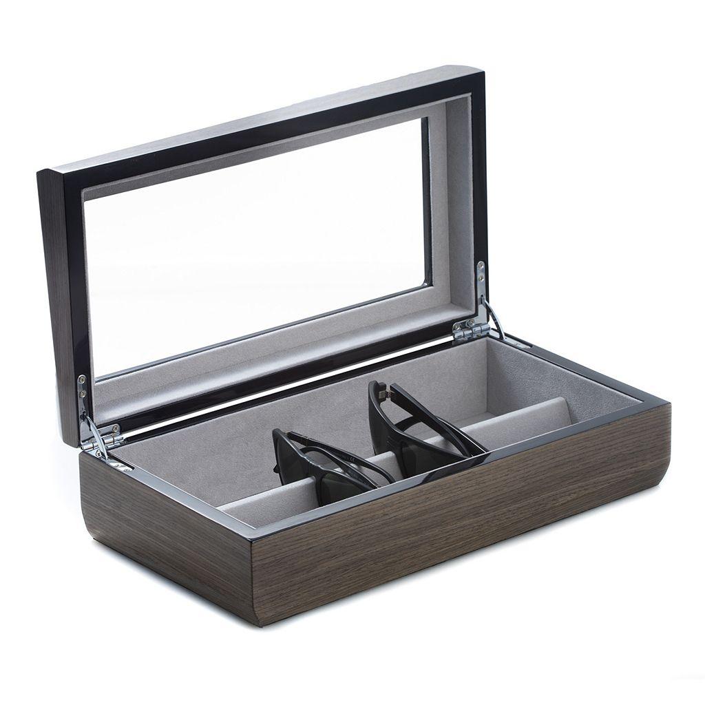 Bey-Berk Lacquered Ash Wood Multi-Eyeglass Storage Case