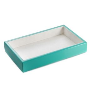 Bey-Berk Lacquered Wood Turquoise Open-Face Valet Tray