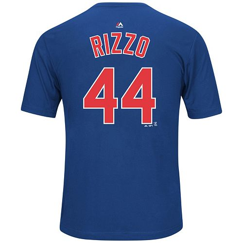 Men's Majestic Chicago Cubs Anthony Rizzo Player Name and Number Synthetic Tee