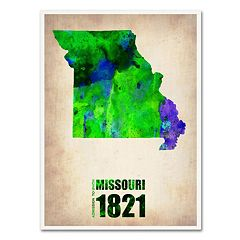 Trademark Fine Art Watercolor State & Date Canvas Wall Art