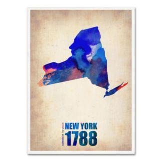 Trademark Fine Art Watercolor State & Date Canvas Wall Art