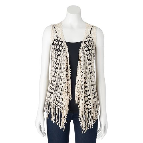 Juniors Its Our Time Crochet Fringed Vest