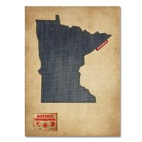 Trademark Fine Art State Denim Map Canvas Wall Art