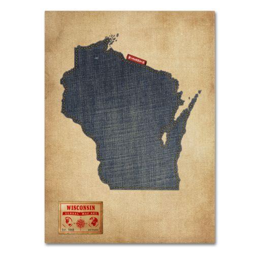 Trademark Fine Art State Denim Map Canvas Wall Art