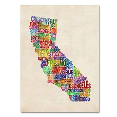 Trademark Fine Art California City Names Canvas Wall Art