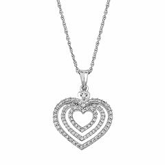 Sterling Silver 1/2 Carat T.W. Diamond Heart Halo Pendant Necklace