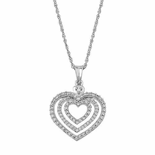 Sterling Silver 1/2 Carat T.W. Diamond Heart Halo Pendant Necklace