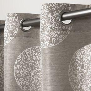 Exclusive Home 2-pack Akola Medallion Linen Jacquard Window Curtains
