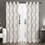 Exclusive Home 2-pack Akola Medallion Linen Jacquard Window Curtains