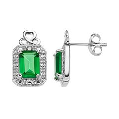 RADIANT GEM Sterling Silver Simulated Emerald Halo Stud Earrings