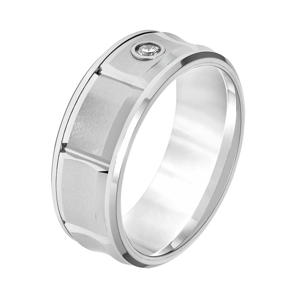 Simply Vera Vera Wang Tungsten Carbide 1/10 Carat T.W. Diamond Men's Wedding Band