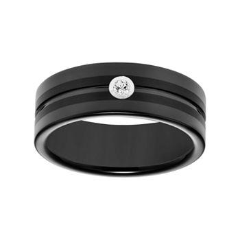 Simply Vera Vera Wang Black Tungsten Carbide Mens Wedding Band
