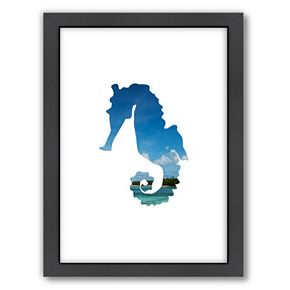 Americanflat Tropical Seahorse Framed Wall Art