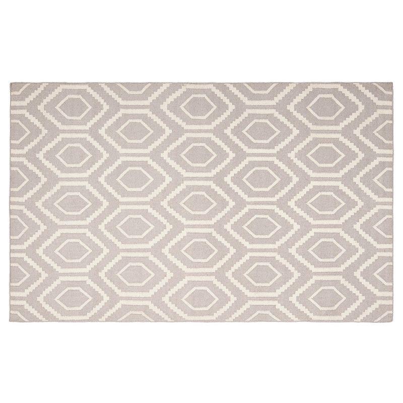 Safavieh Dhurries Flat Hex Handwoven Flatweave Wool Rug, Grey, 8X10 Ft Product Image