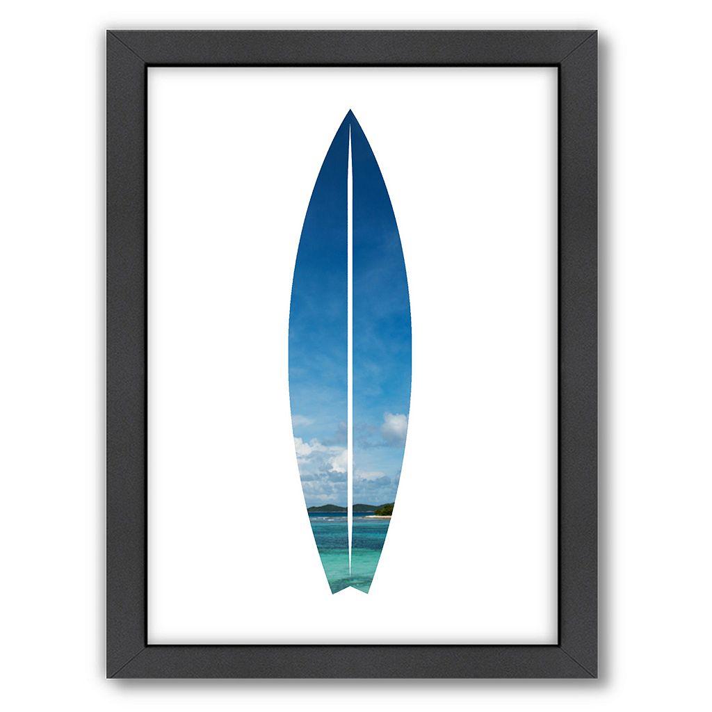 Americanflat Tropical Surfboard Framed Wall Art