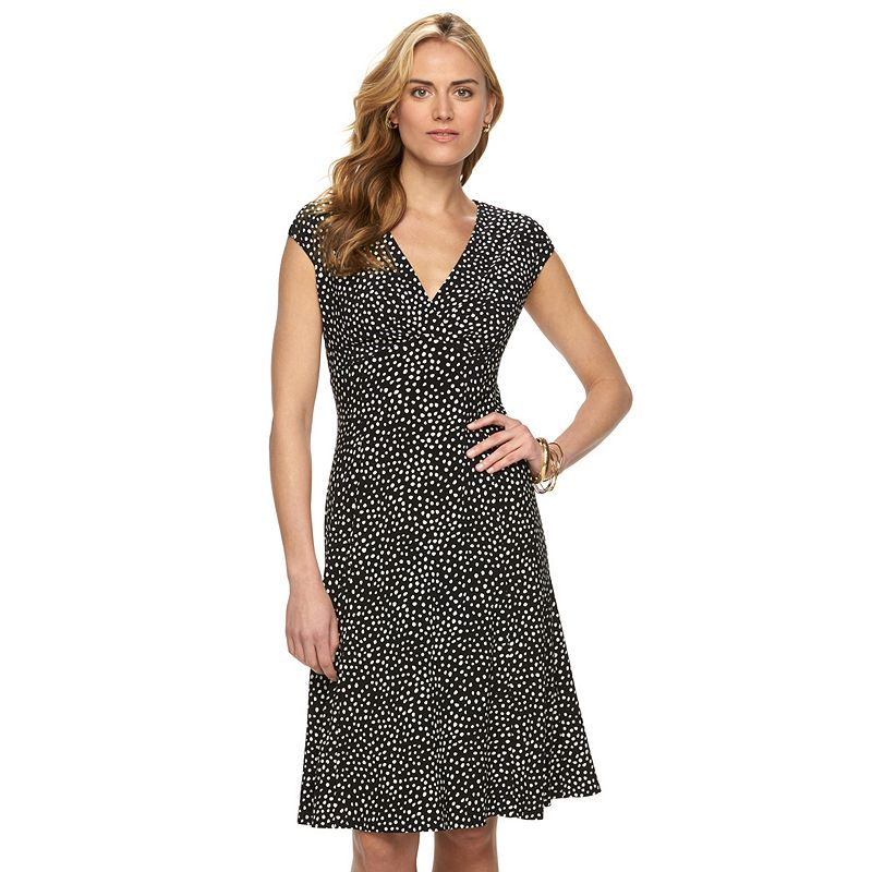 Petite Chaps Printed Pleated Empire Dress