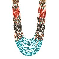Long Seed Bead Colorblock Multi Strand Necklace