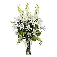 nearly natural Artificial Lily, Delphinium and Hydrangea Arrangement