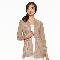 Women's Croft & Barrow® Pointelle Chevron Open Front Cardigan