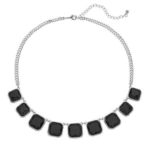 Graduated Black Square Necklace