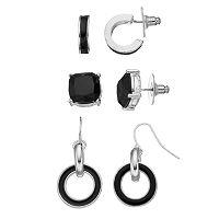Black Stud, Semi-Hoop & Circle Link Drop Earring Set