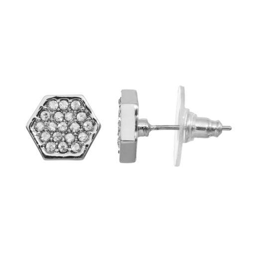 COCO LANE Hexagon Pave Stud Earrings