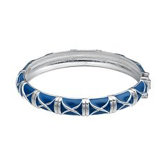 Blue Crisscross Hinged Bangle Bracelet