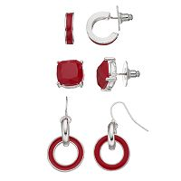 Red Stud, Semi-Hoop & Circle Link Drop Earring Set