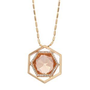 COCO LANE Long Hexagon Pendant Necklace
