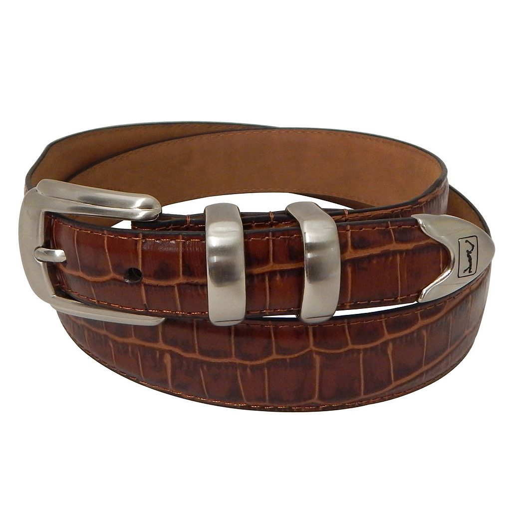 Men's PGA Tour Tapered Faux-Crocodile Leather Golf Belt