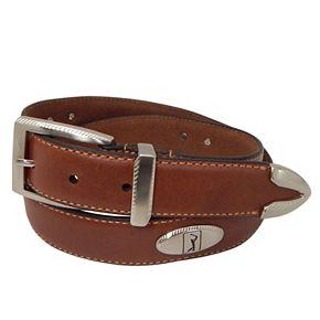 Men's PGA Tour Etched-Accent Leather Golf Belt