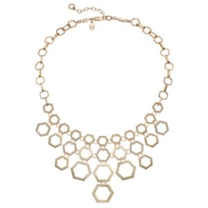 COCO LANE Openwork Hexagon Bib Necklace
