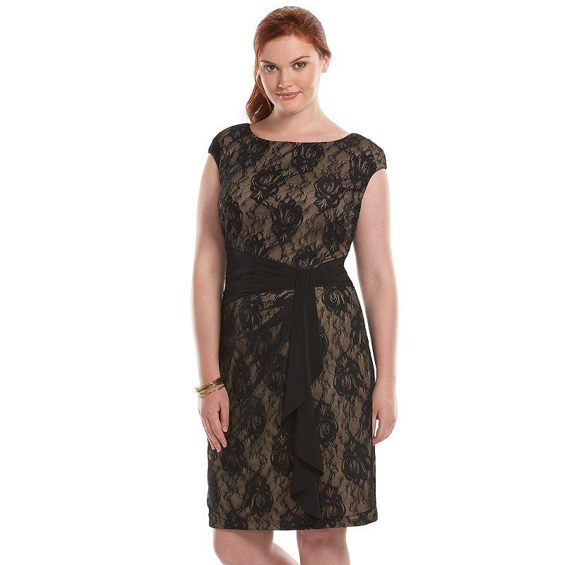 Plus Size Chaps Knot-Front Lace Sheath Dress