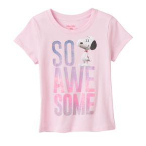 """Girls 4-6x Peanuts Snoopy """"So Awesome"""" Glitter Tee"""