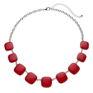 Red Graduated Square Necklace