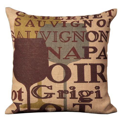 Mina Victory Lifestyles Wine Glass Jute Throw Pillow