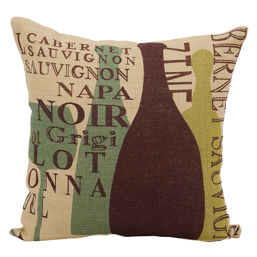 Mina Victory Lifestyles Wine Vintages Jute Throw Pillow