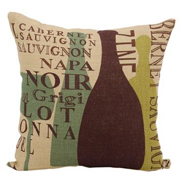 Mina Victory Lifestyles Wine Vintages Jute Throw Pillow