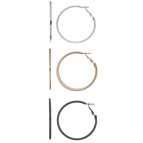 Tri Tone Hoop Earring Set