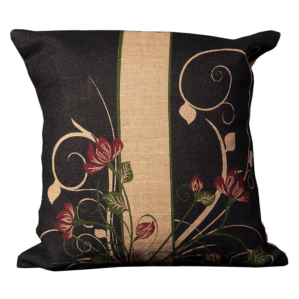 Mina Victory Lifestyles Floral Scroll Jute Throw Pillow