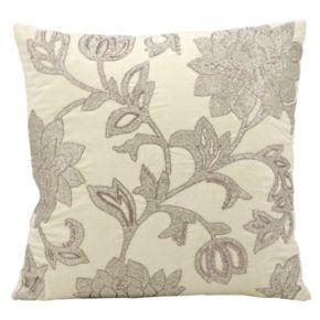 Mina Victory Luminescence Silver Flowers Beaded Throw Pillow
