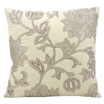 Mina Victory Luminescence Silver Flowers Beaded Throw Pillow