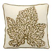 Mina Victory Luminescence Maple Leaf Beaded Throw Pillow