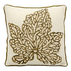 Mina Victory Luminescence Maple Leaf Beaded Throw Pillow