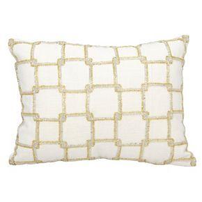 Mina Victory Luminescence Interlocking Squares Beaded Throw Pillow