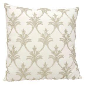 Mina Victory Luminescence Fleur-de-Lis Beaded Throw Pillow
